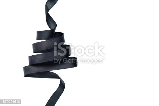 istock Black ribbon in shape of Christmas tree 872024610