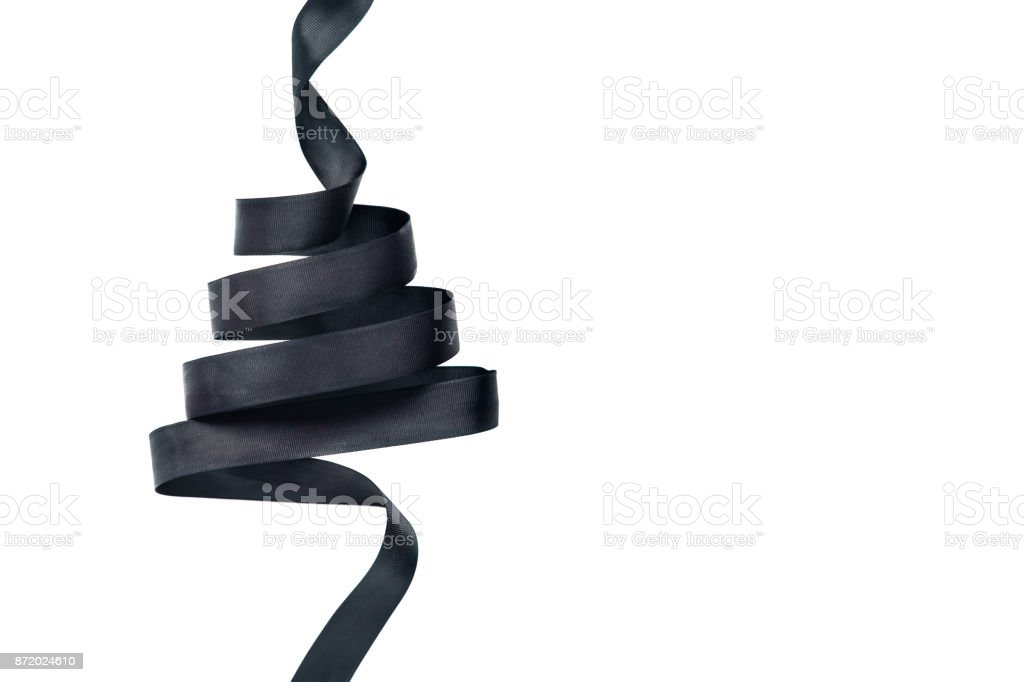 Black ribbon in shape of Christmas tree stock photo
