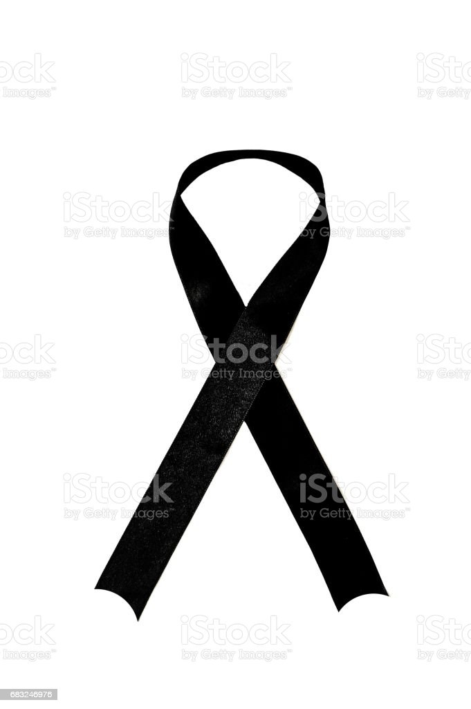 Black ribbon, mourning ribbon, sad ribbon, mourning sign, black mourning ribbon on white background. foto de stock royalty-free