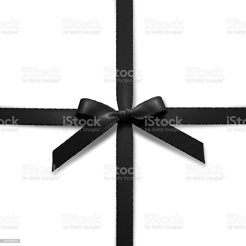 Black ribbon on white background stock photo