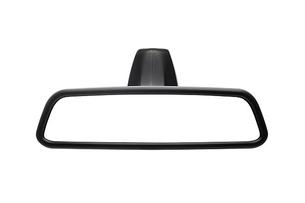 Black rimmed rear view mirror isolated on white background stock photo