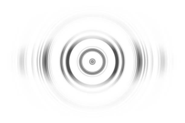 Black rings sound waves oscillating, abstract background stock photo