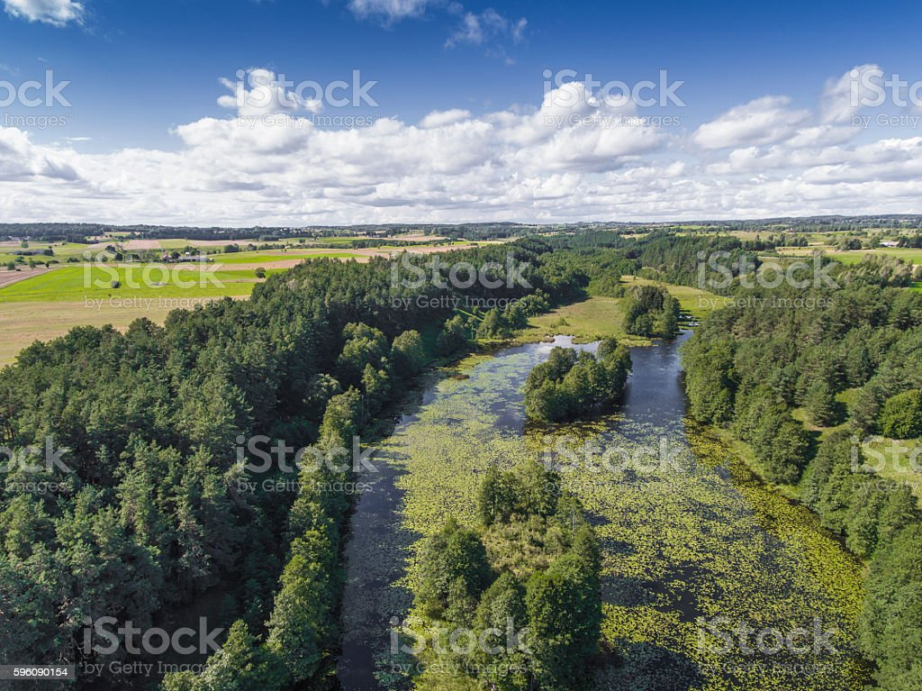 Black River Hancza in Turtul. Suwalszczyzna, Poland. royalty-free stock photo
