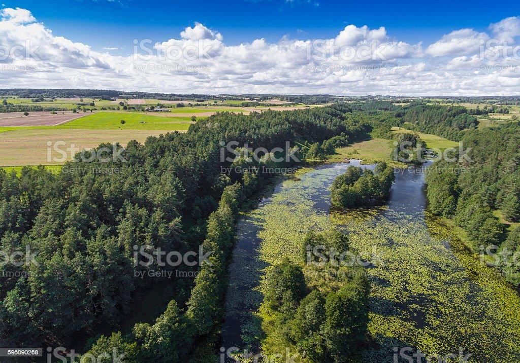 Black River Hancza in Turtul. Suwalszczyzna, Poland. Lizenzfreies stock-foto