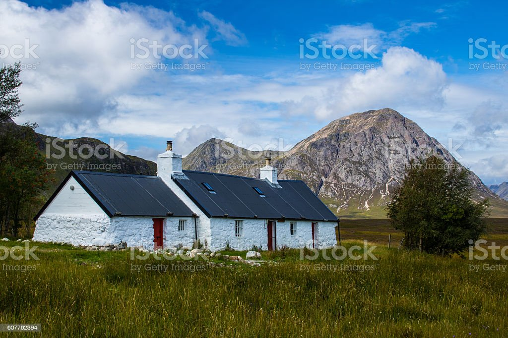 Black Rock Cottage, Glencoe, Scotland stock photo