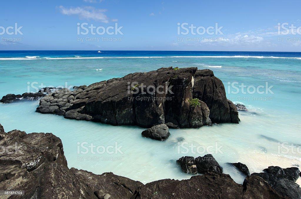 Black Rock in Rarotonga, Cook Islands stock photo