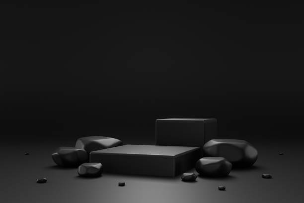 Black rock pedestal or podium display with stone platform concept on dark background. Blank shelf stand for showing product. 3D rendering. stock photo
