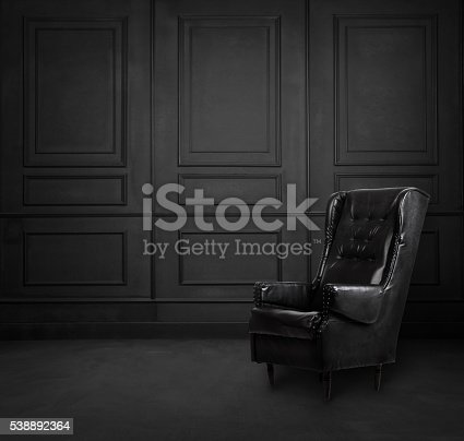 istock Black room interior design with armchair 538892364
