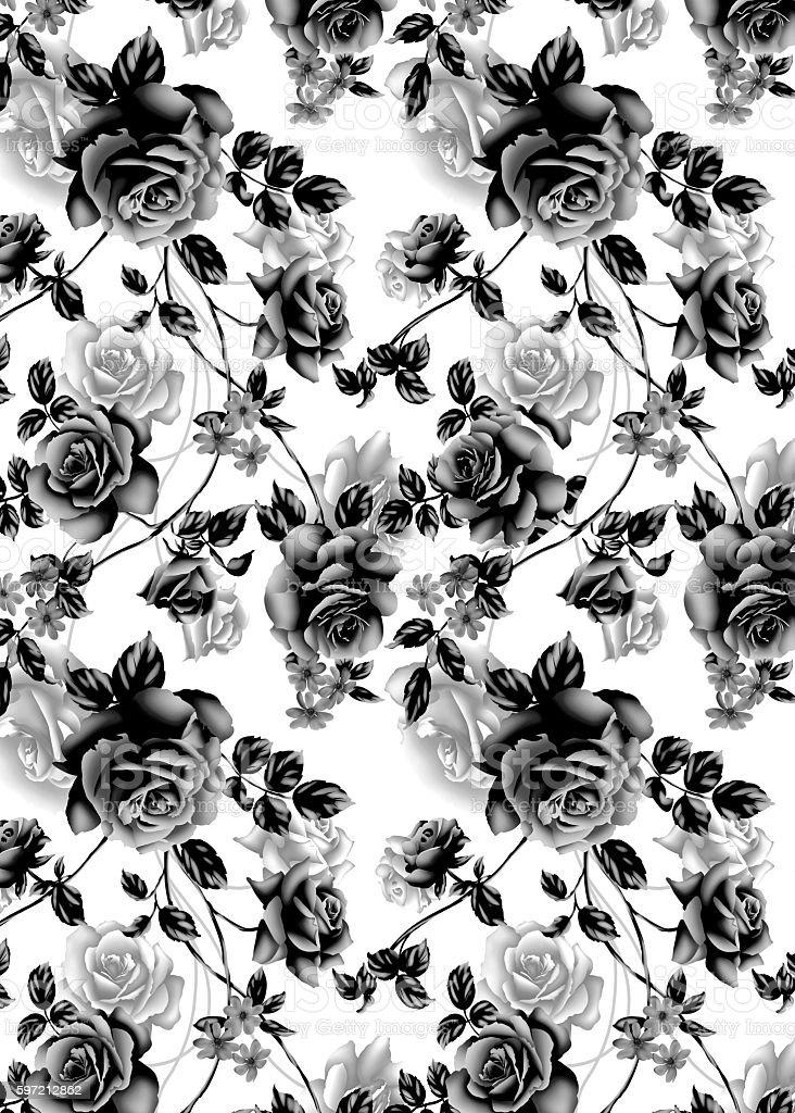 Black Rose Textile Graphic stock photo