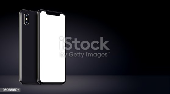 istock Black rotated smartphones mockup front and back sides 980689524