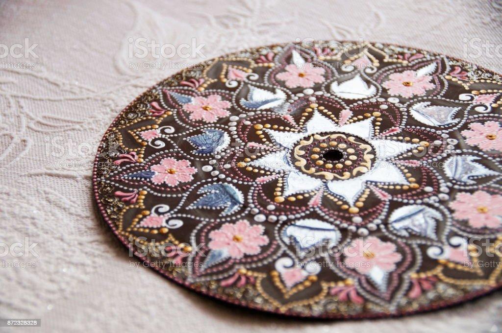 Black round handmade mandala stock photo