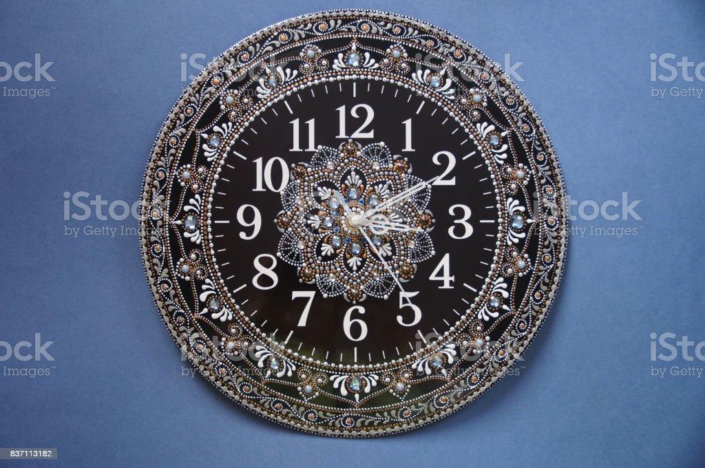 Black round handmade watches stock photo