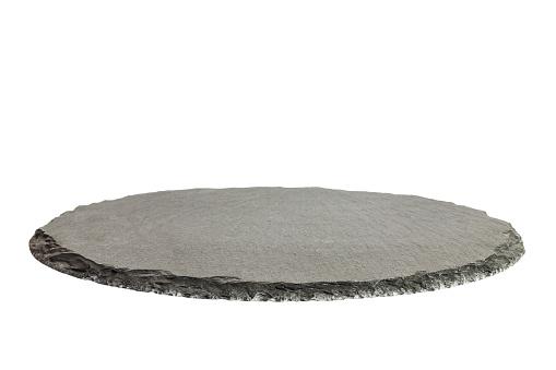 istock Black round natural tray. Empty kitchen slate board isolated on white background. Restaurant modern utensil 911743328