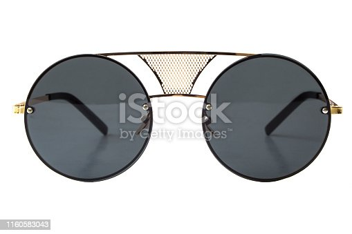1047544590 istock photo Black round Sunglasses 1160583043
