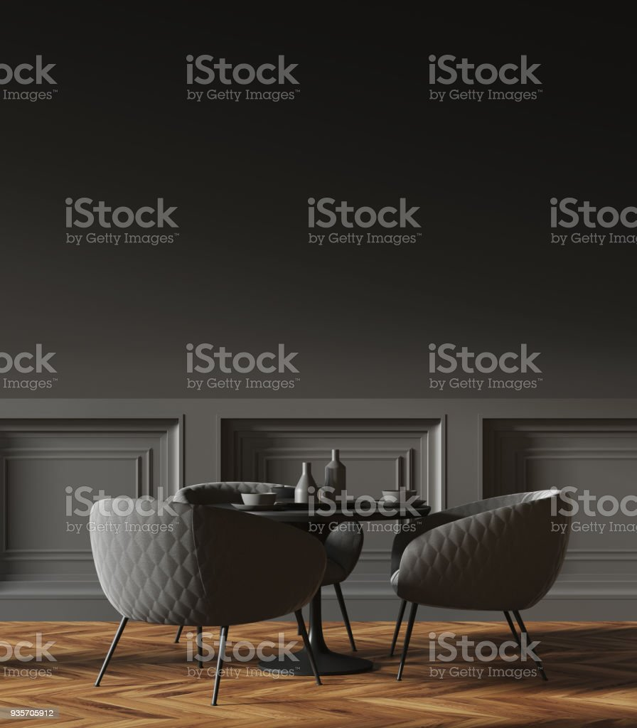 Black Round Table In A Black Wall Cafe Corner Stock Photo Download Image Now Istock