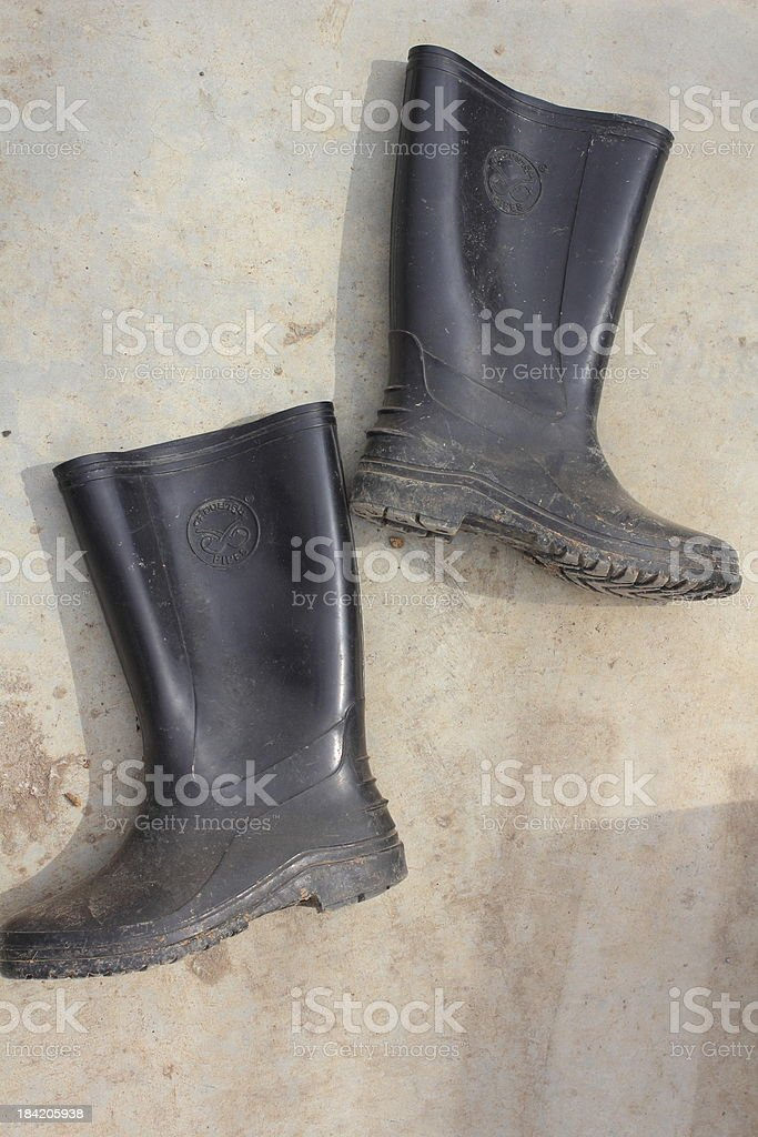 Black rubber boots royalty-free stock photo