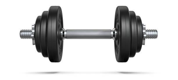 svart gummi metall hantel med skugga. 3d-rendering illustration isolerad på vit bakgrund. gym, fitness och sportutrustning symbol - hantel bildbanksfoton och bilder