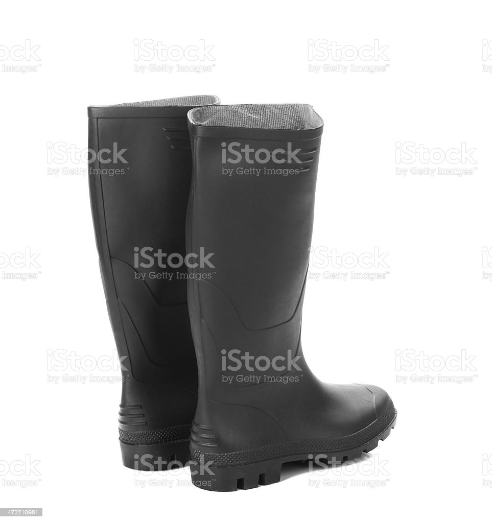 Black rubber overshoe. stock photo