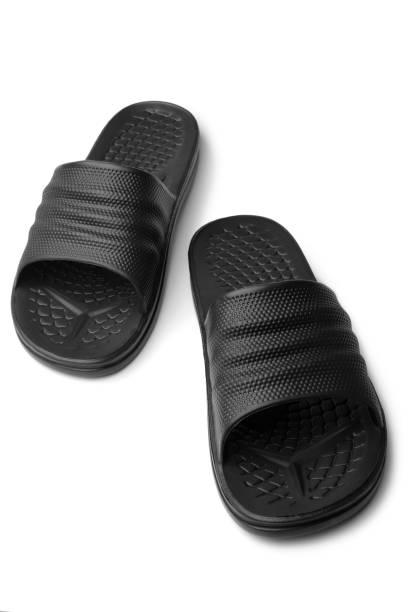 Black rubber slippers stock photo