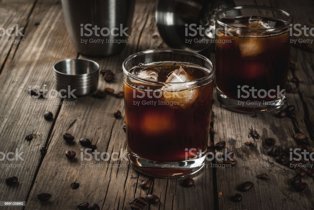 Black Russian cocktail with vodka and coffee liquor stock photo