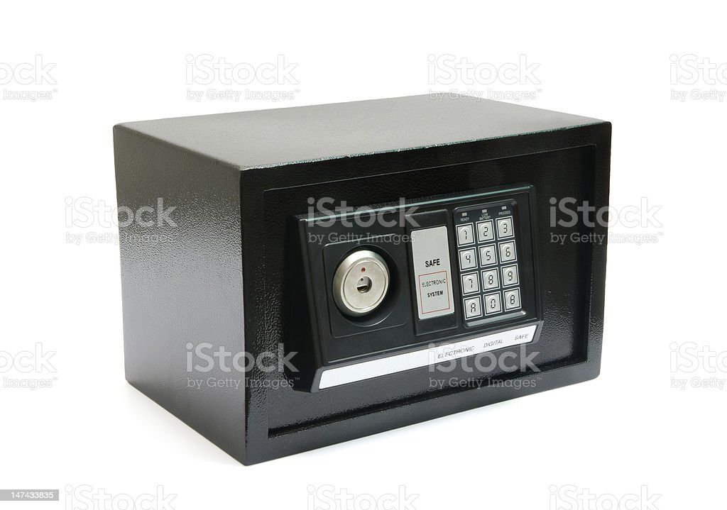 black safe box with code lock, door close stock photo