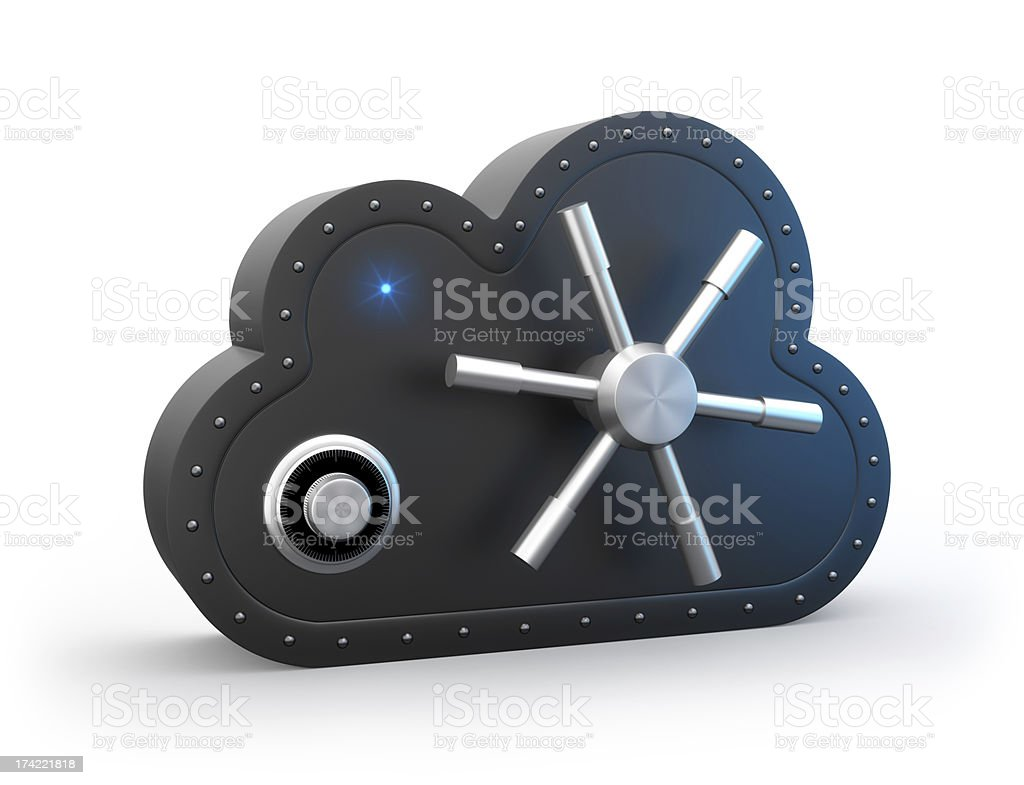 Black safe cloud-shaped for secure cloud-computing concept stock photo