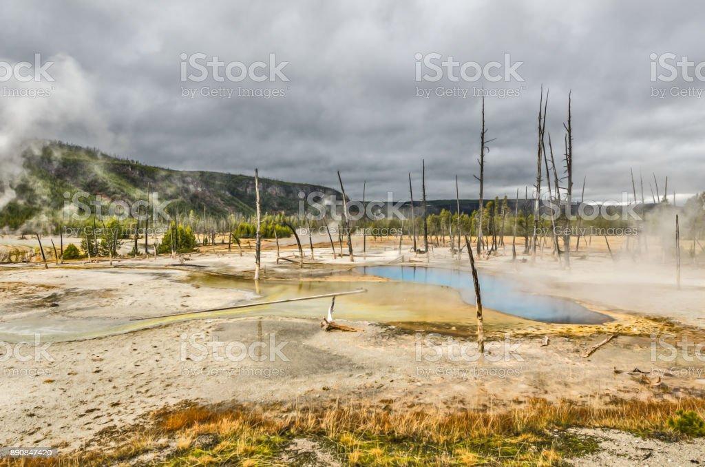 Black Sand Basin's Opalescent Pool stock photo