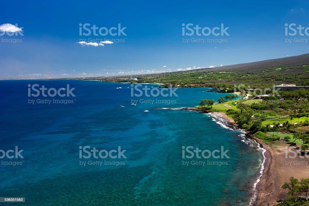 Black Sand Beach and south Maui coastline, Hawaii, USA stock photo