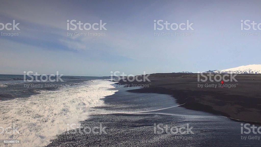 Czarny piasek Plaża w Islandii zbiór zdjęć royalty-free