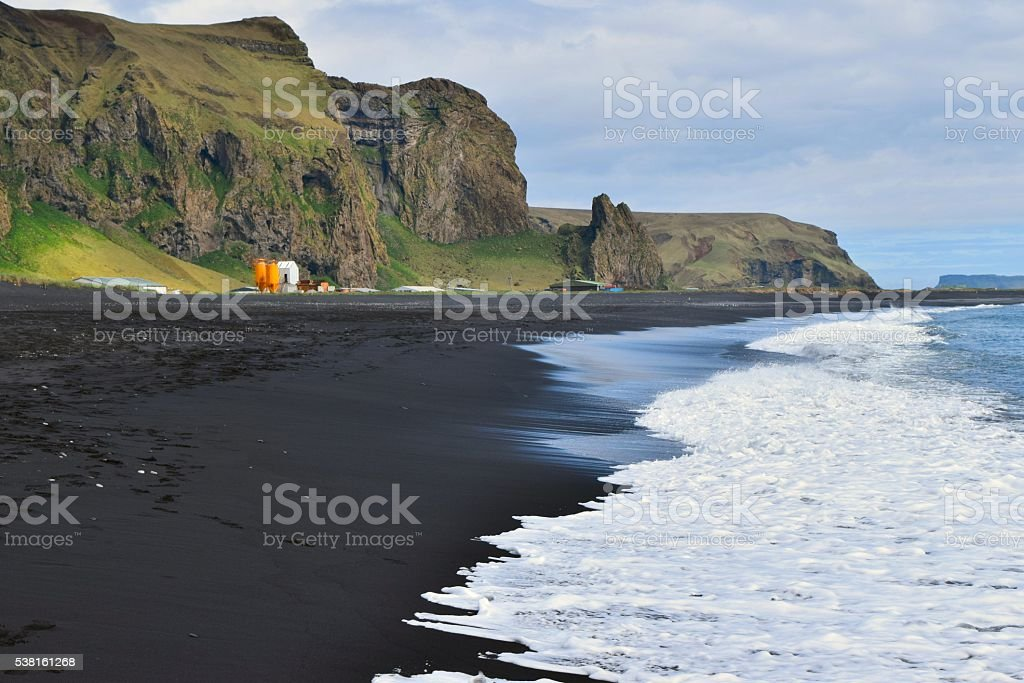 Black sand beach at Vik stock photo