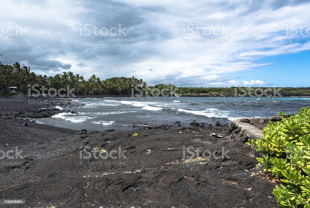 Black Sand Beach in Big Island, Hawaii stock photo