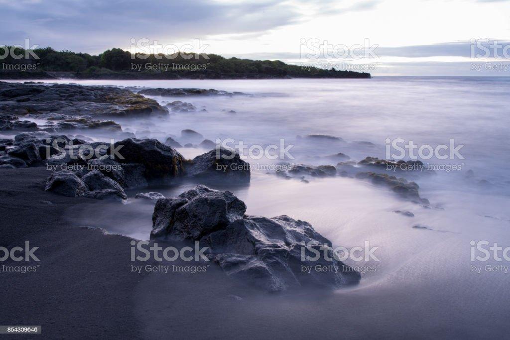 Black Sand Beach in Hawaii stock photo