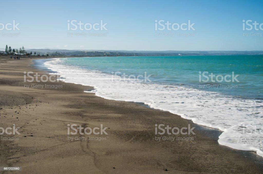 Black Sand Beach in Napier, Hawkes Bay region, North Island, New Zealand stock photo