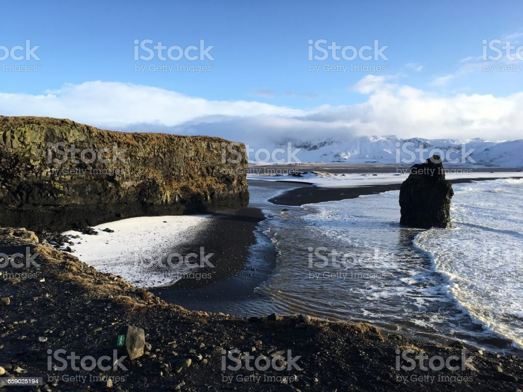 Black sand beach in Reynisfjara, Iceland royalty-free stock photo