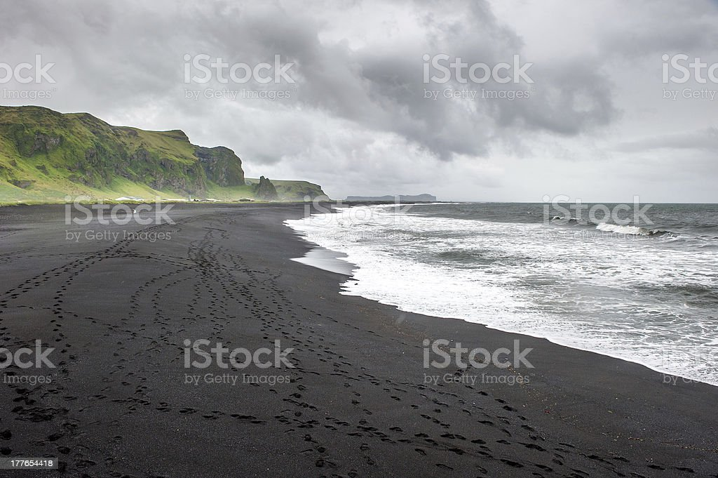 Black sand beach in Vik, Iceland stock photo