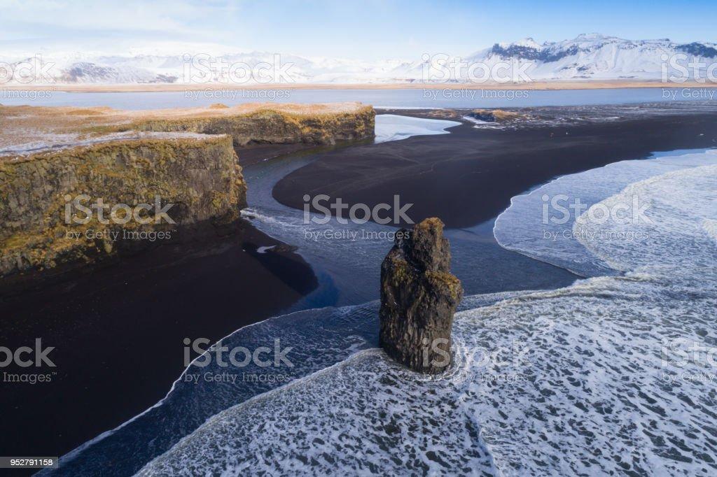 Black sand beach in Vik, Iceland stock photo