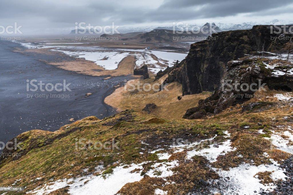Black sand beach landscape in spring, Iceland stock photo