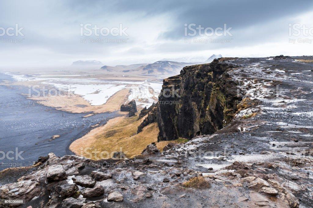 Black sand beach natural landscape, Vik, Iceland stock photo