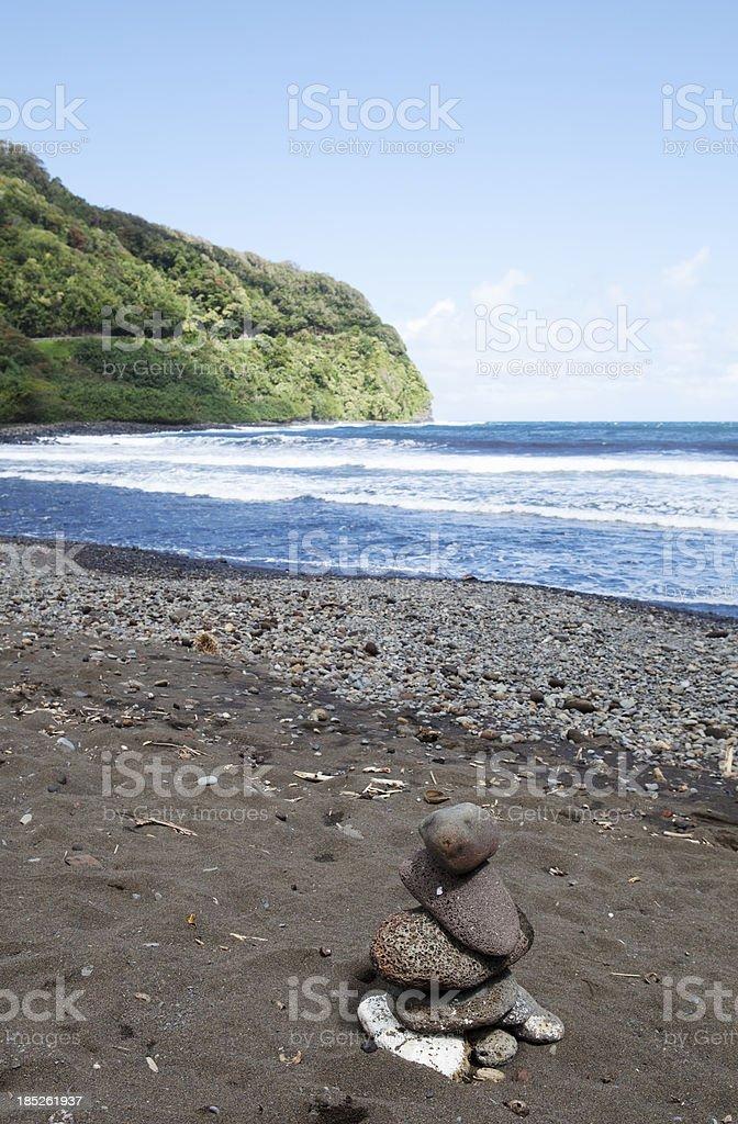 Black Sand Beach on Maui Hawaii royalty-free stock photo