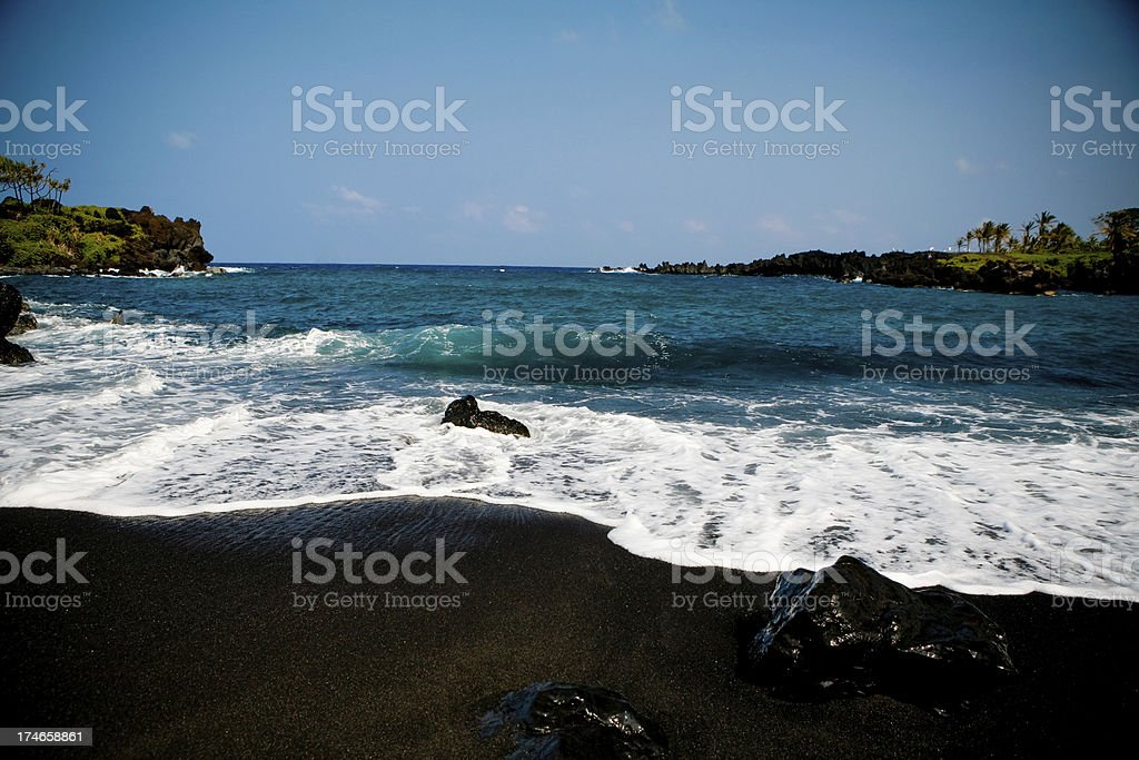 Black Sand Beach royalty-free stock photo