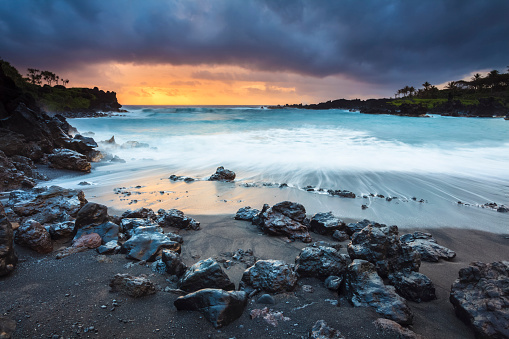 Black Sand Beach Stock Photo - Download Image Now