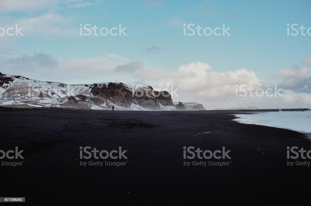 Black Sand Beach with Small Person - Royalty-free Atlantic Ocean Stock Photo