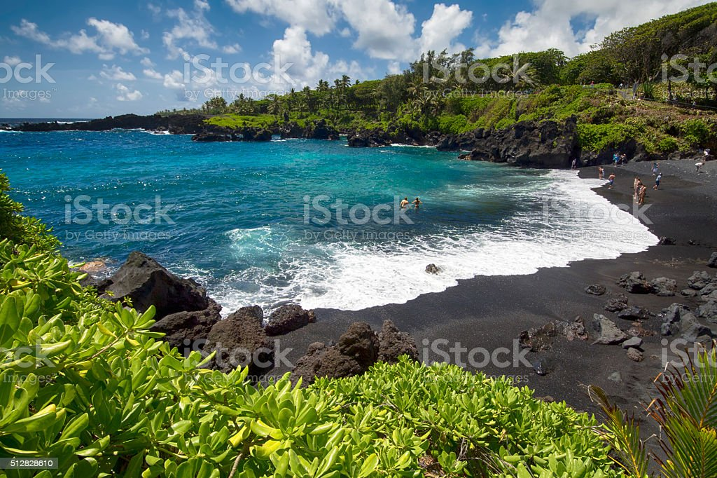 Black sand beach,Waianapanapa state park. Maui, Hawaii stock photo