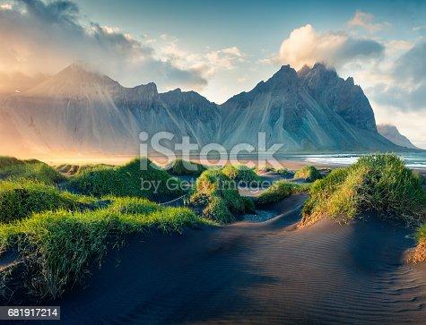 istock Black sand dunes on the Stokksnes headland 681917214