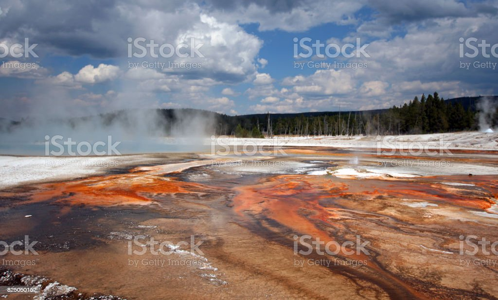 Black Sand Geyser Basin in Yellowstone National Park in Wyoming USA stock photo