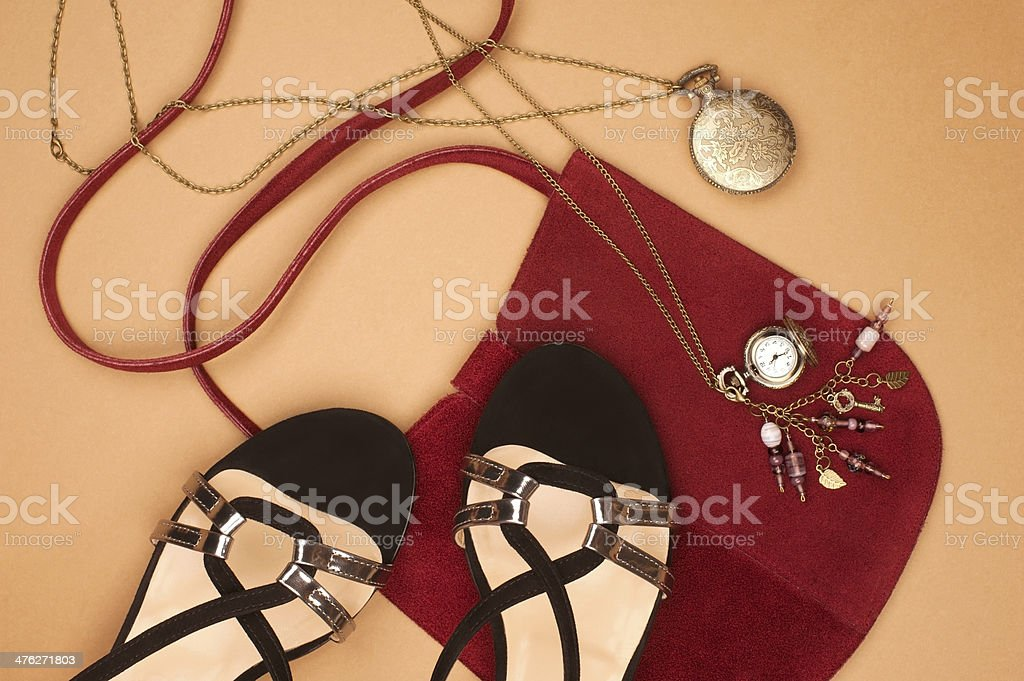 Black Sandals & Red Purse royalty-free stock photo