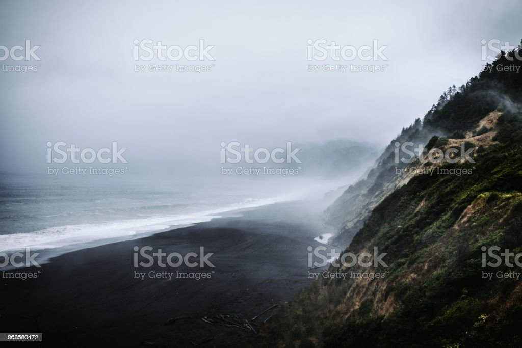 Black Sands Beach, Shelter Cove, CA stock photo