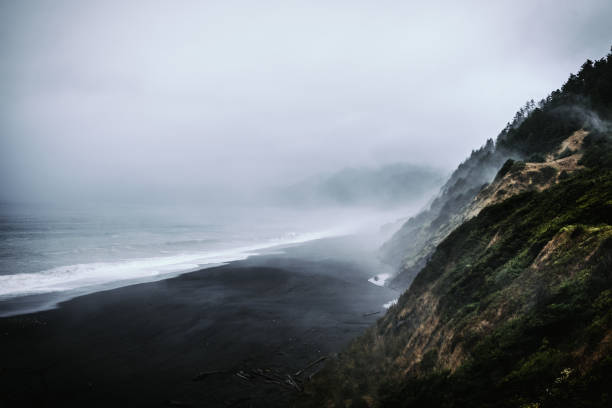 Black Sands Beach, Shelter Cove, CA View from the overlook point of this surreal location in California's Lost Coast. black sand stock pictures, royalty-free photos & images