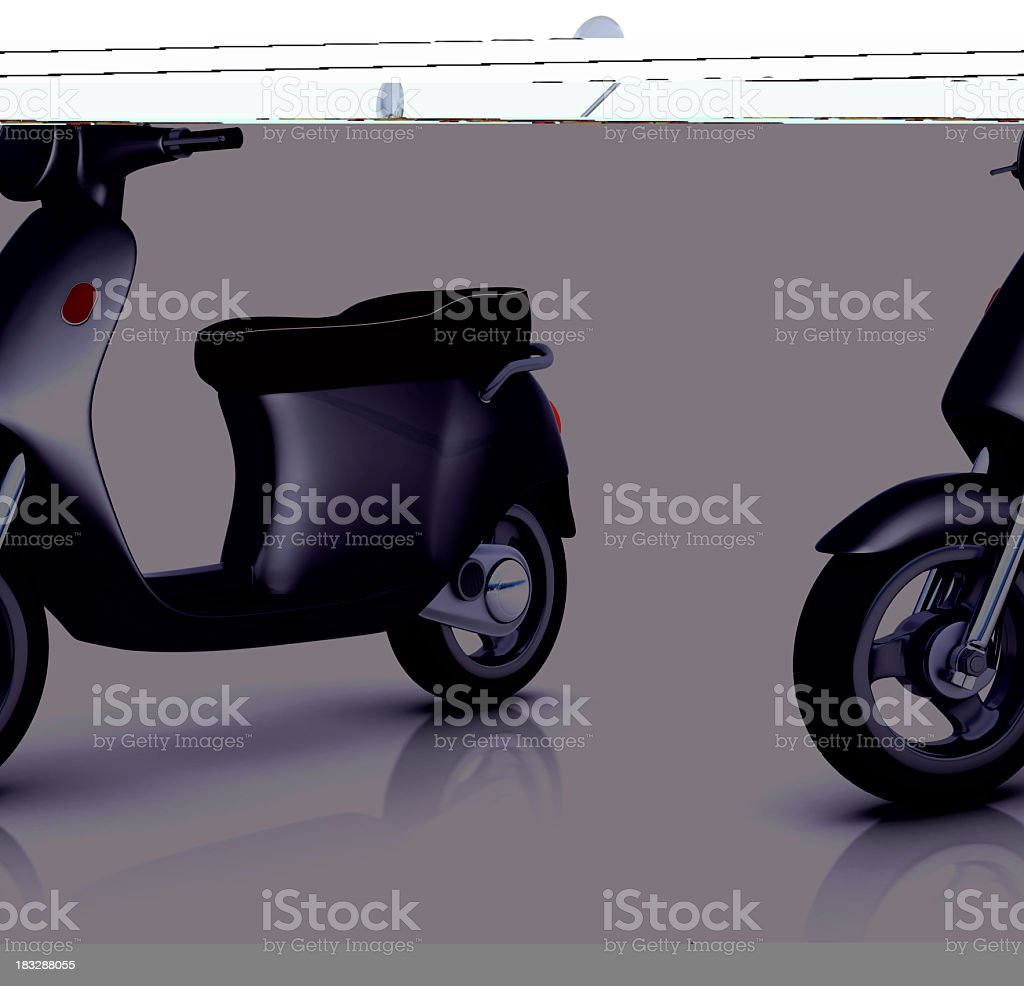 Black scooter isolated on white royalty-free stock photo