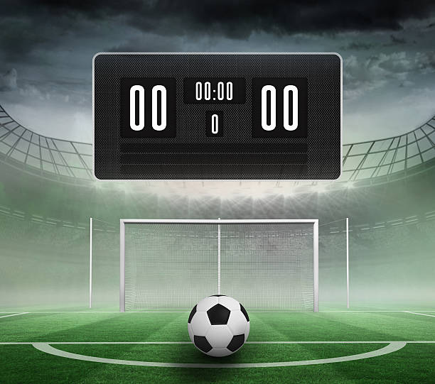 black scoreboard with no score and football - scoring stock photos and pictures